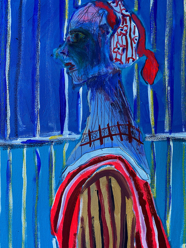 The Long Necked Lady, 36 cm x 25 cm, acrylic and oil pastel on canvas