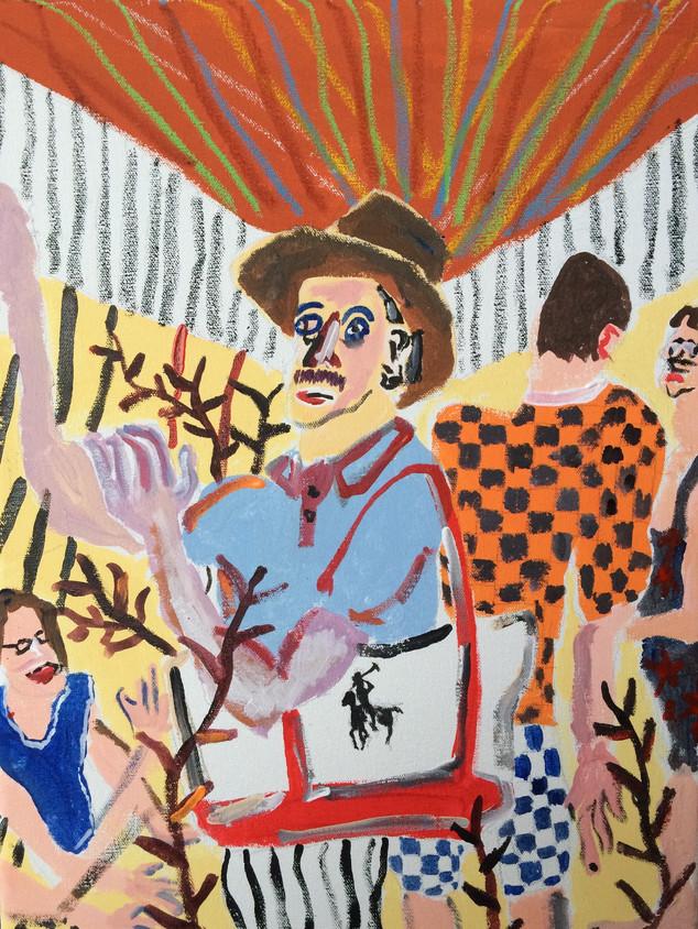 Acid Commute, 36 cm x 25 cm, acrylic and pastels on canvas