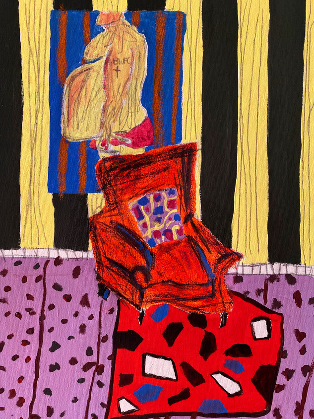 The Fluorescent Chair, 36 cm x 25 cm, acrylic and oil pastel on canvas