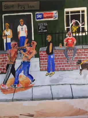 Pub Brawl, 110 cm x 105 cm, acrylic and oil pastel on canvas