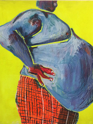 Everything Takes Place in the Belly, 160 cm x 140 cm, acrylic, salt and sand on canvas