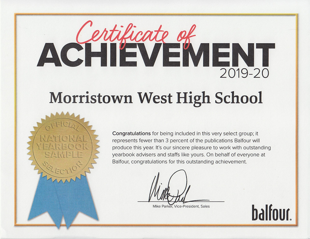 Congratulations to the Morristown West Yearbook Staff for being a national sample yearbook.