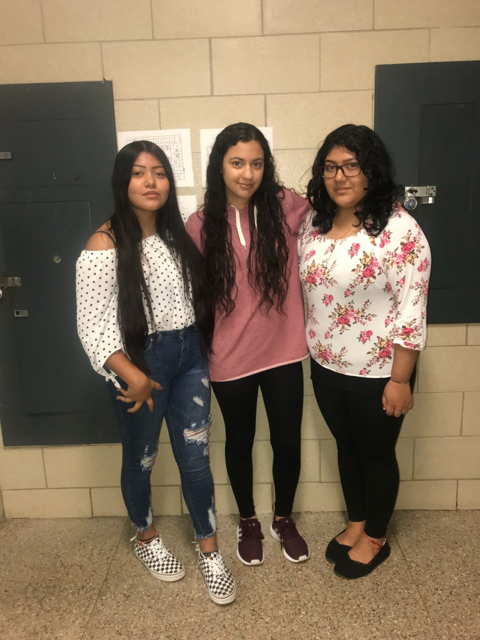 Isabel Roblero, Bianca Ochoa, and Anai Perez Hernandez look forward into being able to asist many teachers.
