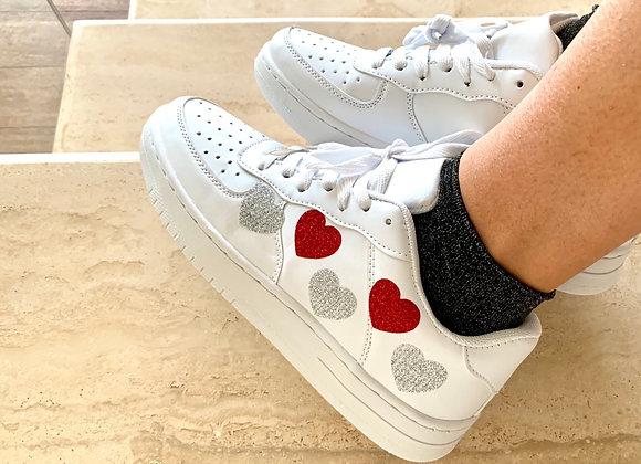 Sneakers ecopelle cuori
