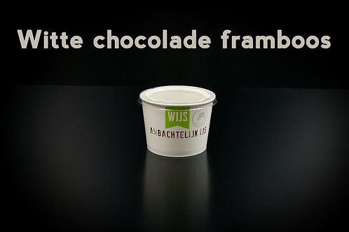 Witte chocolade framboos | 0,5 liter ambachtelijk ijs (emmertje)