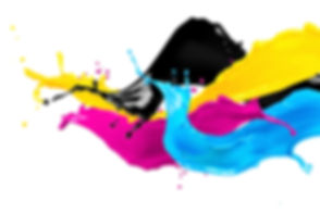 abstract CYMK color splash isolated on w