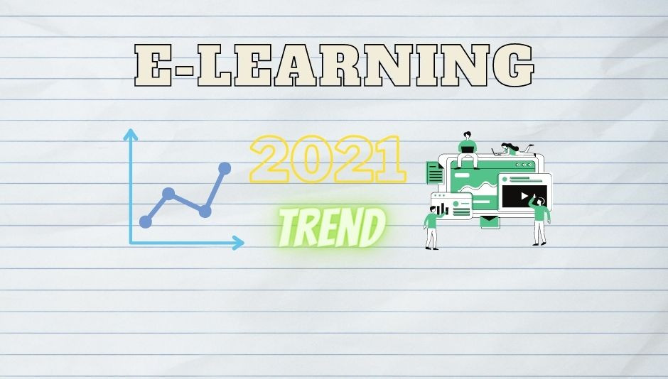 written e-learning with graphs showing the growing trend for 2021