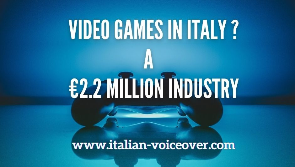 """An electric blue light illuminates a video game joystick resting on the table and an inscription in the foreground """"Video Games In Italy ? A €2.2 milion industry"""