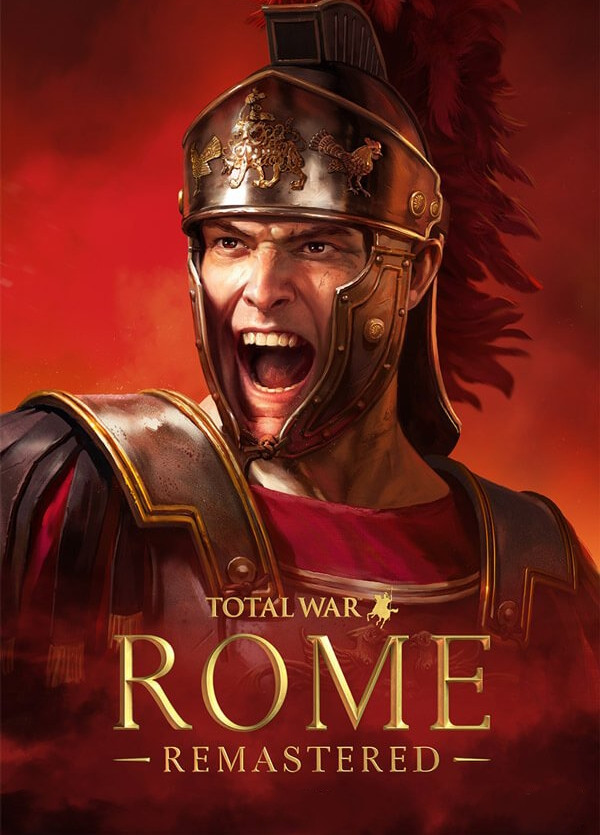 A Roman centurion wearing a helmet and armor screams with his mouth open on a background of red fire, below the words Total War Rome remastered