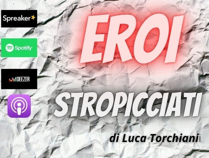 a white background made of crumpled paper and an orange embossed script Eroi Stropicciati