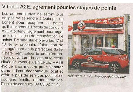 A2E, AGRÉMENT POUR LES STAGES Á POINTS