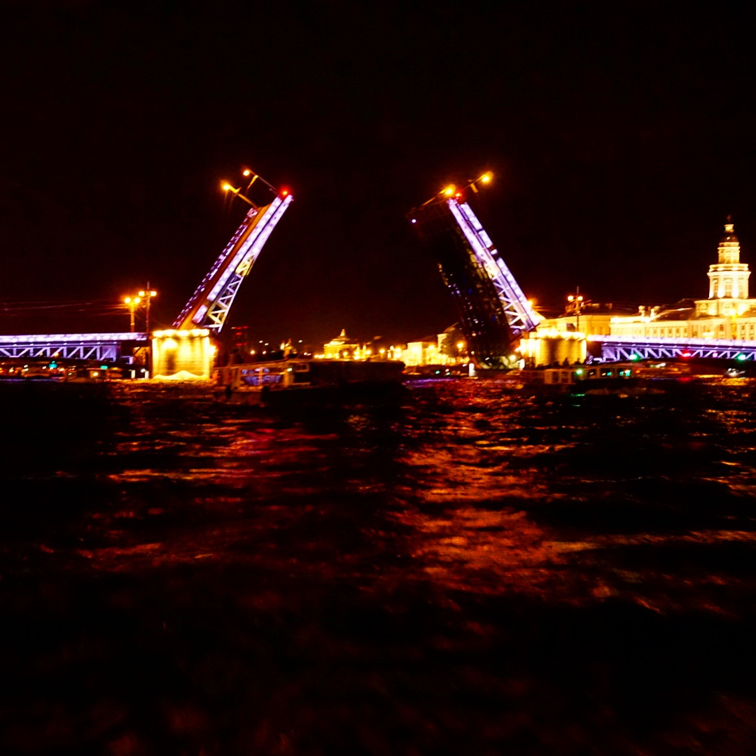 Palace Bridge Opening St Petersburg