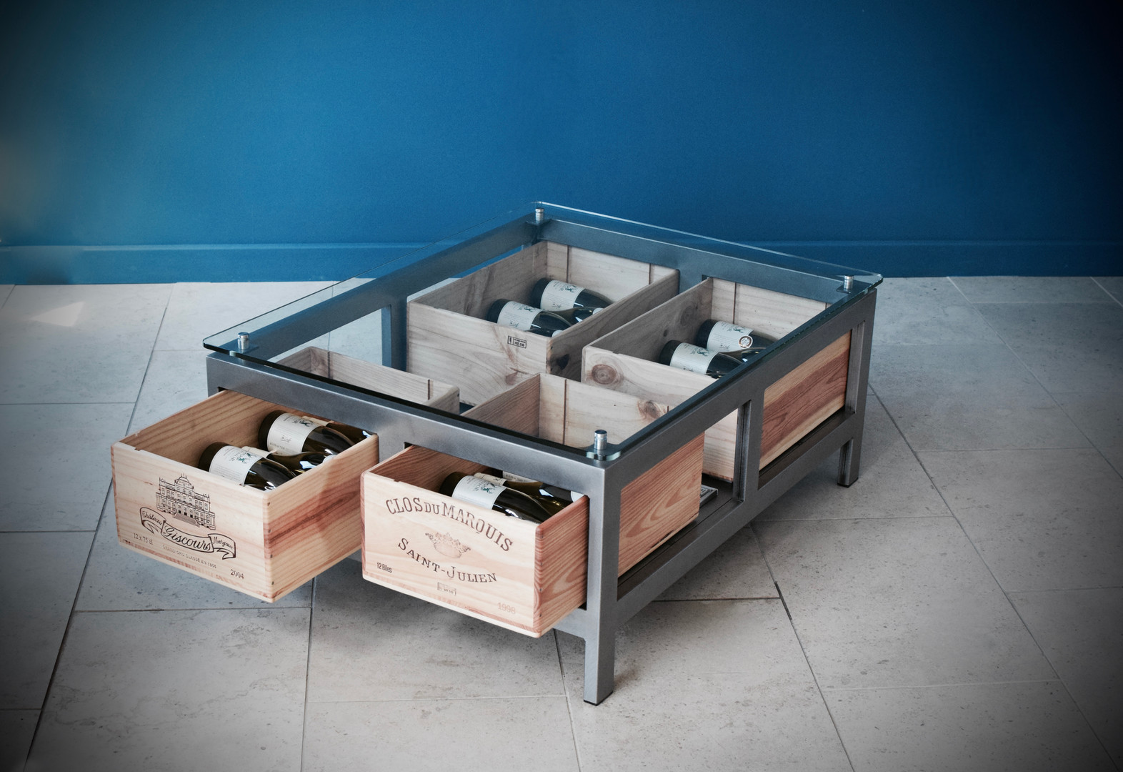 Bespoke Acier glass coffee table