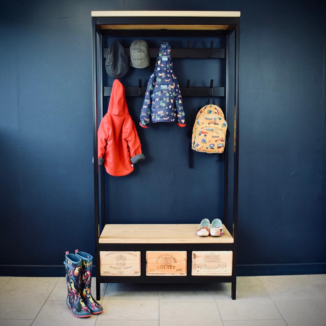 3x1 Acier bench & coat rack