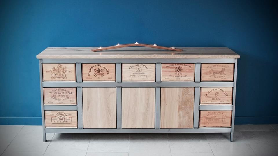 5x3 Acier with 3 central oak cupboard
