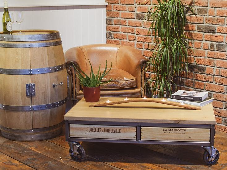 Vintage castor 4x1 Acier coffee table