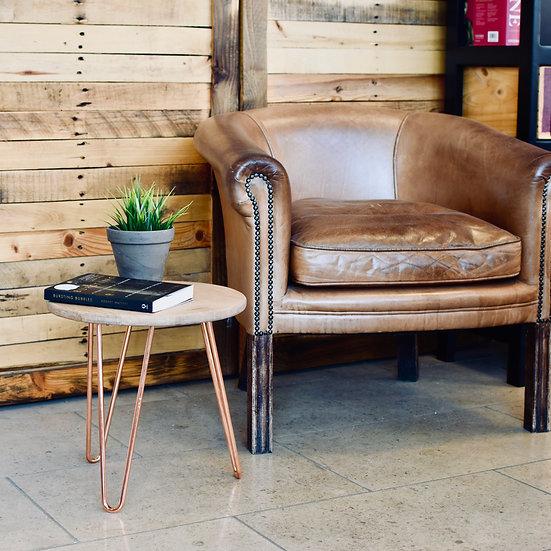 Headboard Side Table (copper/oak)