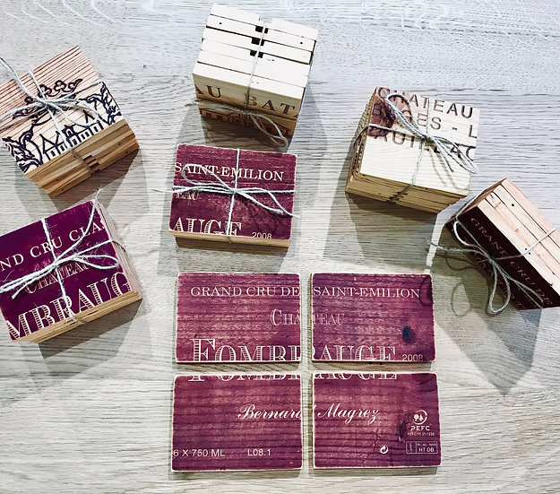 Wine crate coasters