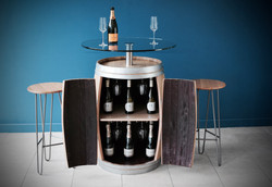 Custom glass topped drinks cabinet