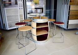 Customised wine barrel drinks cabinet and bar stools