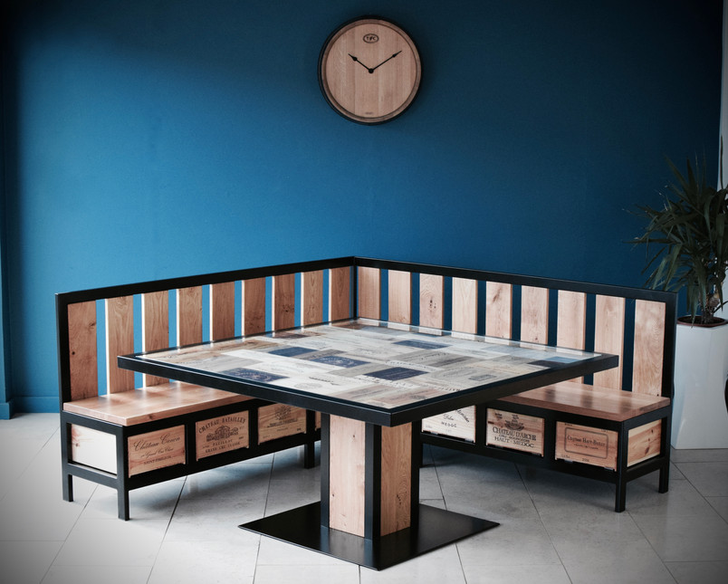 Custom Acier bench and dining table