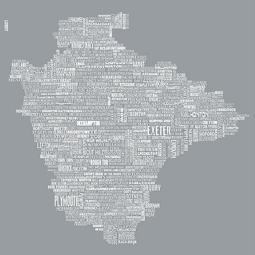 Greeting Card Devon Map - Grey