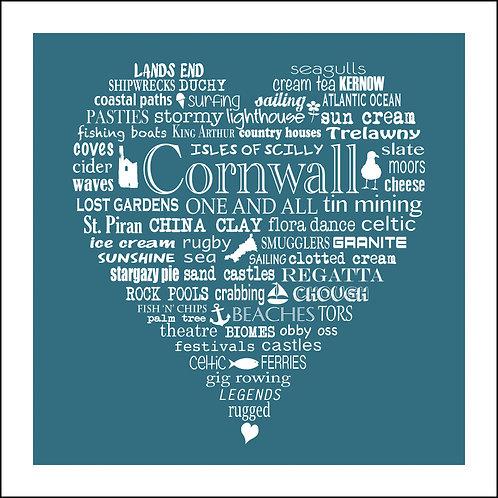 Typographic Cornwall Heart Print
