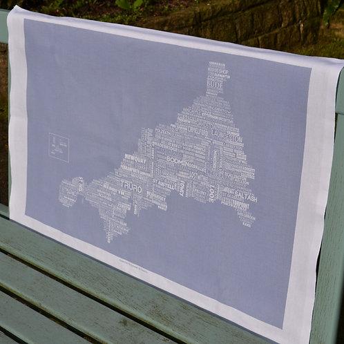 Cornwall Map Tea Towel - Sea Grey