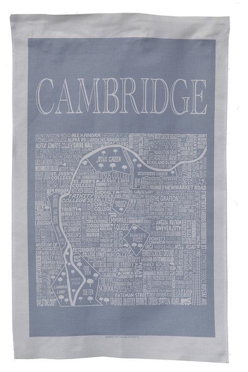 Cambridge City Map Tea Towel - Grey