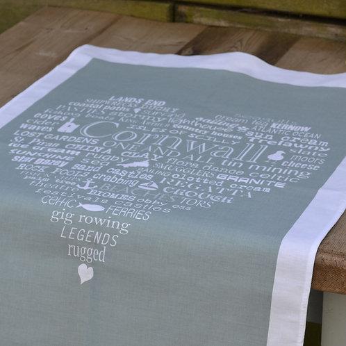 Cornwall Heart Tea Towel - Moss