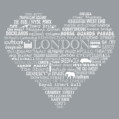 Greetings Card London Heart - Grey