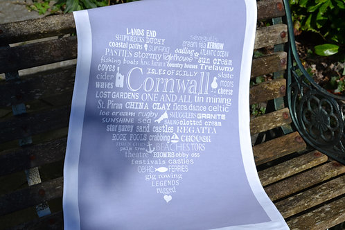 Cornwall Heart Tea Towel - Grey