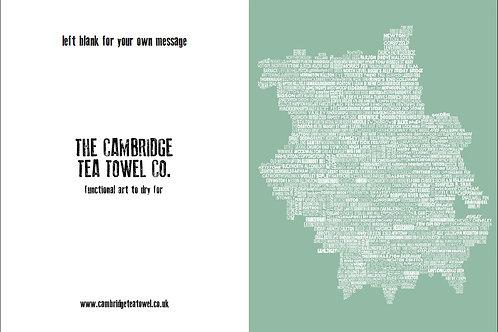 Typographic Cambridgeshire Map Greeting Cards