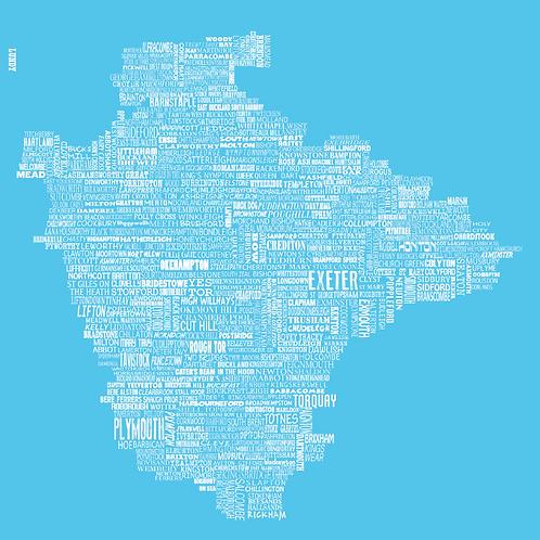 Devon Map - Bright Blue