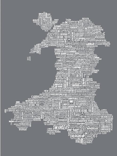 Wales Map Card - Slate