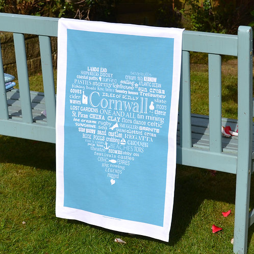 Cornwall Heart Tea Towel - Blue