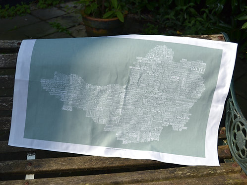 NEW!! Somerset Map Tea Towel - Moss