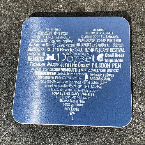 Dorset Heart Coaster - Charcoal