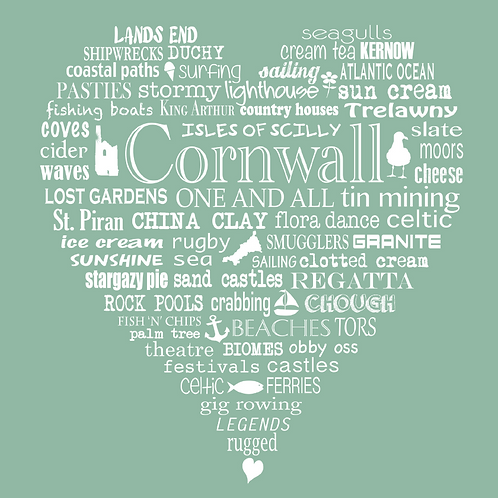 Cornwall Heart Card - Meadow