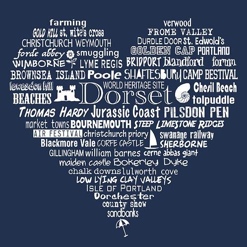 NEW! Dorset Heart Card - Charcoal