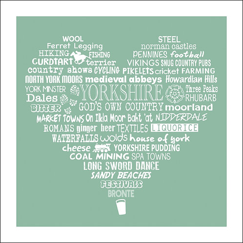 Typographic Yorkshire Heart Print