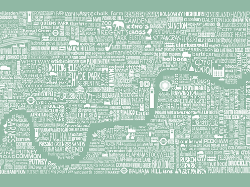 NEW! London Map Card - Meadow