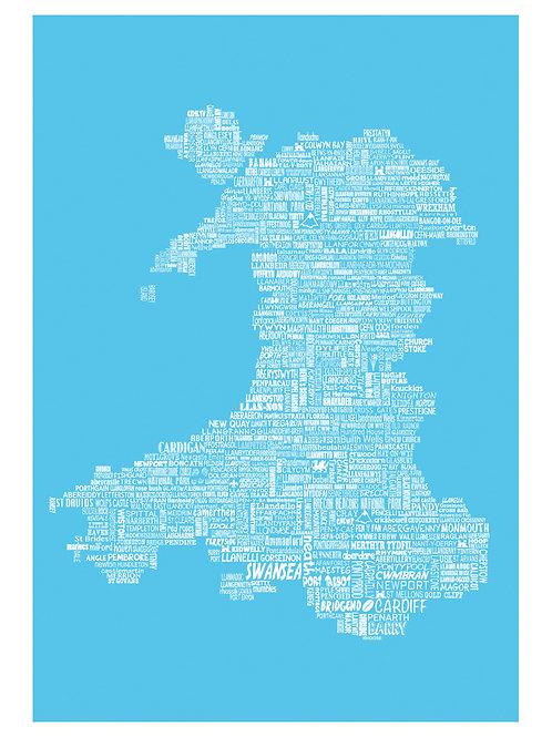 Wales Typographic Map Print