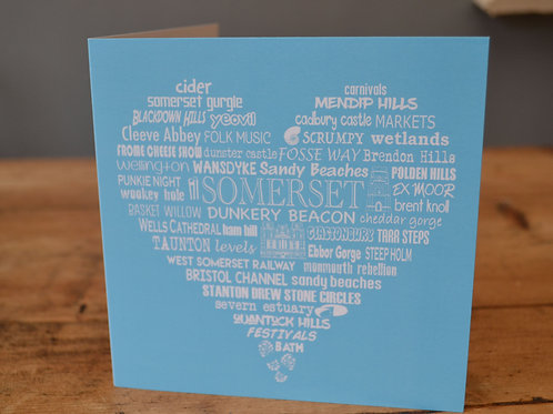 Somerset Heart Card - Bright Blue