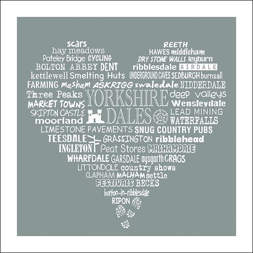 Typographic Yorkshire Dales Heart Print