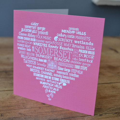 Somerset Heart Card - Rose