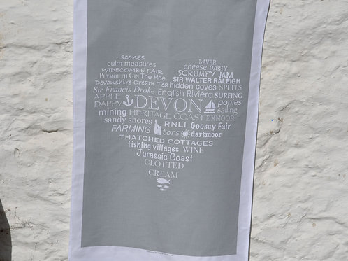 Devon Heart Tea Towel - Grey (discontinued)