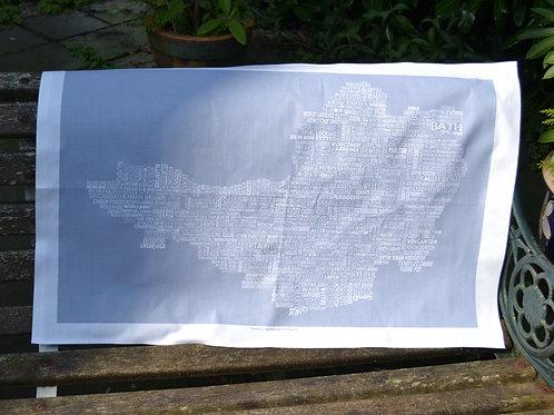 NEW!! Somerset Map Tea Towel - Grey