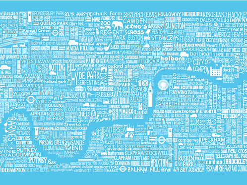 NEW! London Map Card - Bright Blue