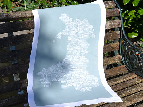 New! Wales Typographic Map - Moss